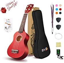 Soprano Ukulele Beginner Pack-21 Inch w/ Gig Bag Fast Learn Songbook Digital Tuner All in One Kit Mahogany