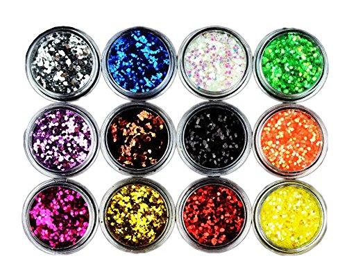 1mm Hexagon Glitter Coloré Nail Décoration Accessoires 12 Couleur