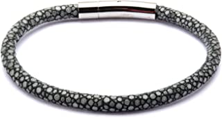 INOX Men's Grey Stingray Leather Bracelet with Magnetic Clasp. 8.5 inch Long
