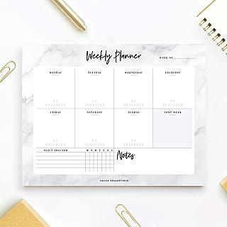 مجموعة Bliss Marble Weekly Planner من مجموعة Bliss Marble Weekly Planner Off Pad 50 ملاءة غير حديثة لوحة مفكرة مكتبية مقسم...