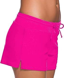 SPRING SEAON Womens Swimwear Shorts Beach Boardshort Trunks Bathing Suit Tankini Bottoms Slit Side Swimsuit Shorts