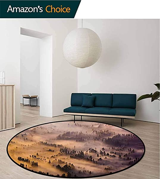 RUGSMAT Mystic Computer Chair Floor Mat Sunrise Over A Foggy Mystic Forest Summer Morning Time Wildlife Scenic Picture Printed Round Carpet For Children Bedroom Play Tent Diameter 59 Inch