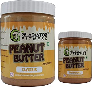 Gladiator Fitness™ Peanut Butter | 30g High Protein | Zero Cholesterol | Vegan | Gluten Free (Classic Crunchy 1kg with Nat...