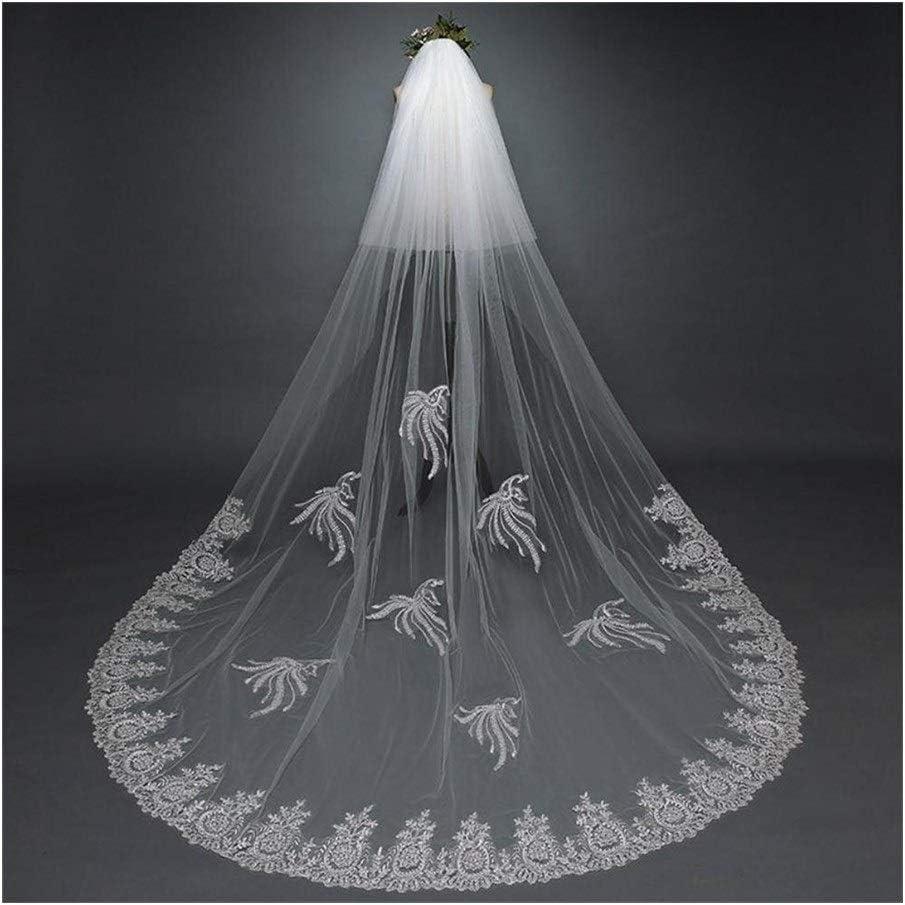 Fashion Bridal Veil White 3 M Mantilla Mariage Veil Long Lace Bride Veils Wedding Accessories 829