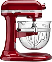 KitchenAid 6500 Series Candy Apple Red Stand Mixer with Glass Bowl KSM6521XSR, 6 qt.