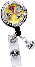 Floating Charm Rhinestone Memory Locket Retractable ID Badge Holders (NICU/PED/L&D Yellow Reel)