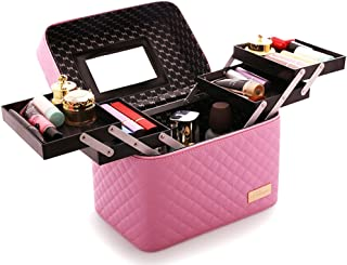 Sooyee Multifunction Travel Cosmetic Bag with Mirror Portable Train Makeup Case 4 Foldable Makeup Tray for Cosmetics Makeup Brushes Toiletry Jewelry Digital accessories (PINK)