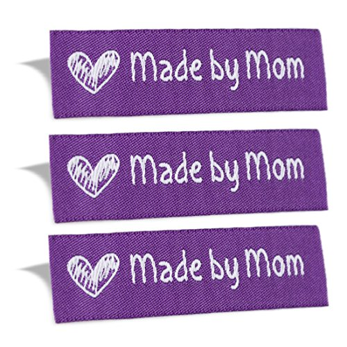 Wunderlabel Made by Mom Mother Crafting Craft Art Fashion Woven Ribbon Ribbons Tag for Clothing Sewing Sew on Clothes Garment Fabric Material Embroidered Label Labels Tags, White on Purple, 50 Labels
