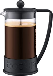 Bodum BRAZIL kaffebryggare (Fransk Press System, permanent rostfritt stålfilter, 1,0 liter) svart