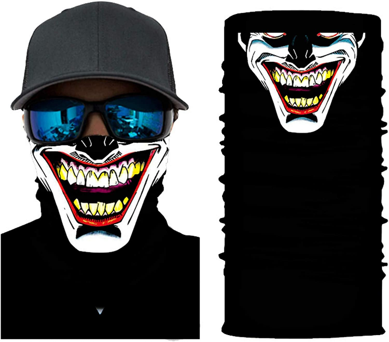 Bandanas Funny Masks Carnival Joker Mask Headscarf Cooling Neck Gaiter Face Mask Men UV Protection, Hunting, Hiking