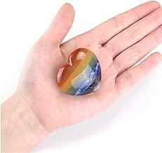 Jovivi Heart Shape Crystals and Healing Stones - Natural Gemstone Carved 7 Chakra Heart Love Stone Pocket Palm Worry Stones Chakra Reiki Balancing