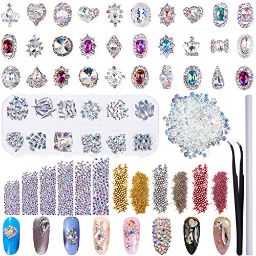 Duufin 13320 Pcs Nail Art Rhinestones Kit 3D Nail Gems Crystal AB Rhinestones Mixed Colours Metal Nail Art Bead with 1 Pc Dotting pen and 1 Pc Tweezer for Nail Art Craft