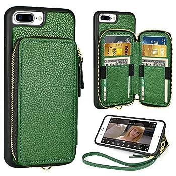 iPhone 8 Plus 7 Plus Wallet Case,5.5 inch,ZVE iPhone 8 Plus Zipper Wallet Case with Credit Card Holder Slot Handbag Purse Wrist Strap Case for Apple iPhone 7 Plus 8 Plus 5.5 inch - Dark Green