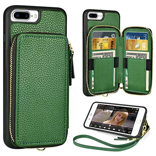 iPhone 8 Plus 7 Plus Wallet Case,5.5 inch,ZVE iPhone 8 Plus Zipper Wallet Case with Credit Card Holder Slot Handbag Purse Wrist Strap Case for Apple iPhone 7 Plus 8 Plus 5.5 inch - Dark Green