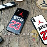 iPhone 6/6s Plus - Tempered Glass Jordan Phone Case Shiny Smooth Scratch Resistant Silicone Protective Shell Basketball Mirror Black Red White Glossy Cover (White)
