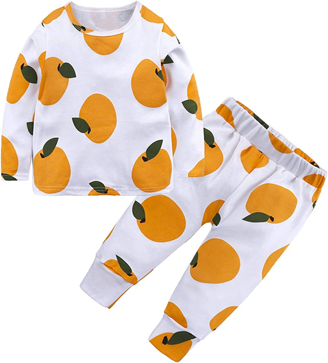Toddler Girl's Cartoon Print Tops Pants Thermal Underwear Pajamas Sets, Tangerine, 5-6 Years = Tag 140