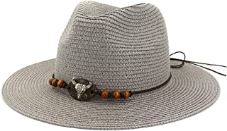 Summer Unisex Large Brim Jazz Paper Straw Sun Hats Cow Head Decoration Men Women Beach Sunhat Travel Sunshade Cap Topee` TuanTuan (Color : Gray, Size : 56-58CM)