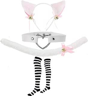 Lolita Cosplay Gothic Cosplay Set - Kitten Tail,Cat Headband w/Ears,Kitten Choker Necklace,Long Striped Socks