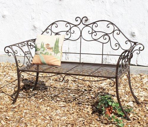 DanDiBo Gartenbank 111183 2 Braun Bank 146 cm aus Schmiedeeisen Metall Sitzbank Parkbank - 3