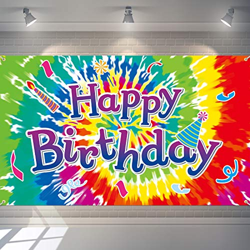 Tie Dye Happy Birthday Backdrop Tie Dye Theme Birthday Background Colorful Paint Splatter Photo Booth Props for Birthday Party Supplies