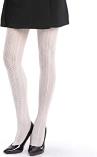 EachEver Women Fishnet Hollow Out Chiffon Lace Stockings Tights Vertical Strips Pantyhose