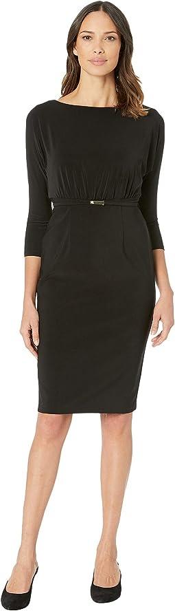 166G Bonded Matte Jersey Viviana 3/4 Sleeve Day Dress