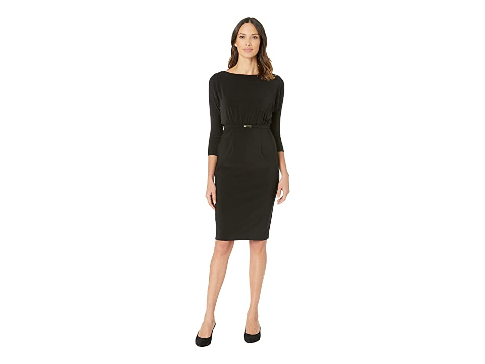 LAUREN Ralph Lauren 166G Bonded Matte Jersey Viviana 3/4 Sleeve Day Dress (Black) Women