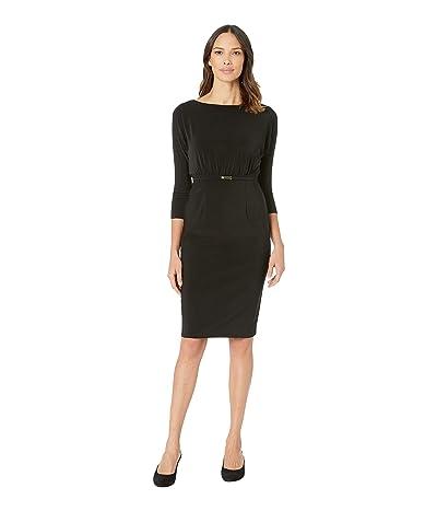 LAUREN Ralph Lauren 166G Bonded Matte Jersey Viviana 3/4 Sleeve Day Dress (Black) Women