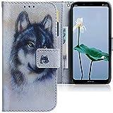 CLM-Tech Hülle kompatibel mit Nokia 8.1 - Tasche aus Kunstleder - Klapphülle mit Stand & Kartenfächern, Wolf weiß grau