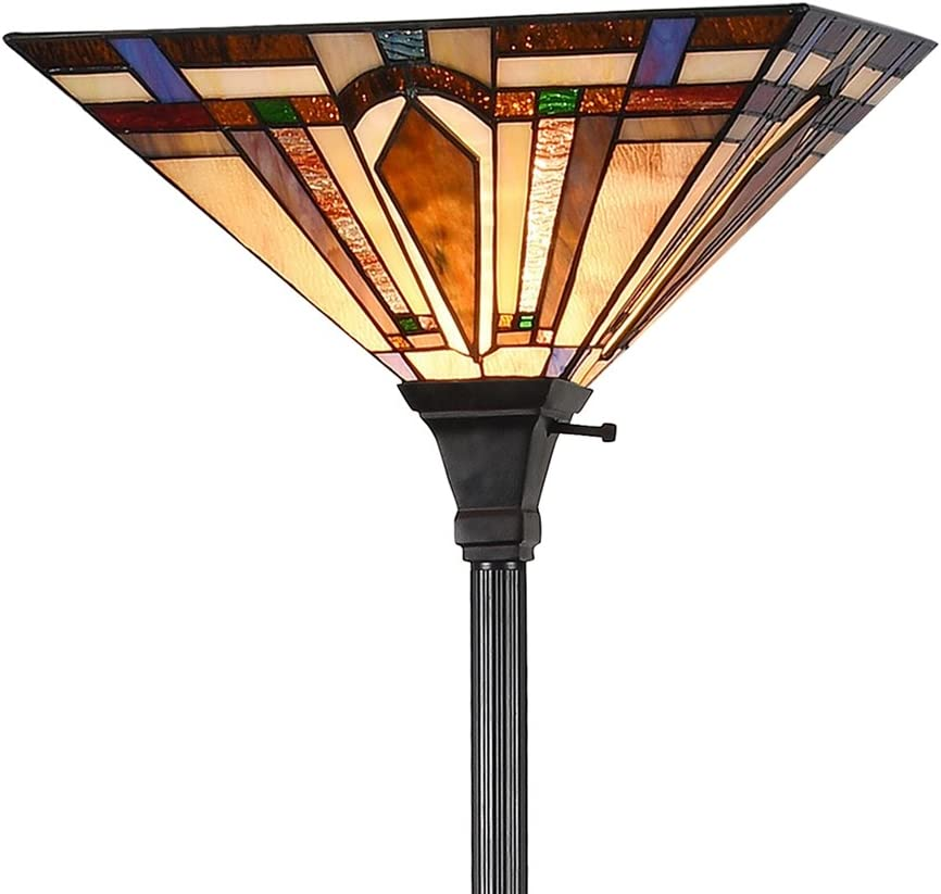 Tiffany Style 1-Light Mission Floor Torchiere Lamp Standing Ligh