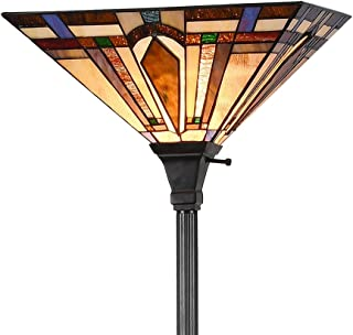 Tiffany Style 1-Light Mission Floor Torchiere Lamp Standing Light Stained Glass Arrow Lampshade 69