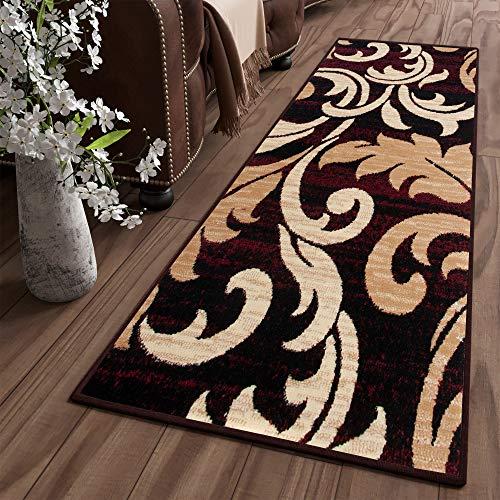 Tapiso Dream Alfombra de Pasillo Cocina Escalera Diseño Moderno Marrón Beige Rojo Hojas Fina Suave 90 x 200 cm