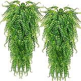 2 pcs Artificial Hanging Ferns Plants Vine Fake Ivy Boston Fern Hanging Plant Outdoor UV Resistant Plastic Plants (Green)