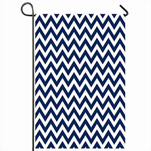 Onete Garden Flag 28x40 Inches Printable Navy Paper Blue White Chevron Novel Texture Lines Waves Geometric Pattern Textures Print Outdoor Seasonal Home Decor Welcome House Yard Banner Sign Flags