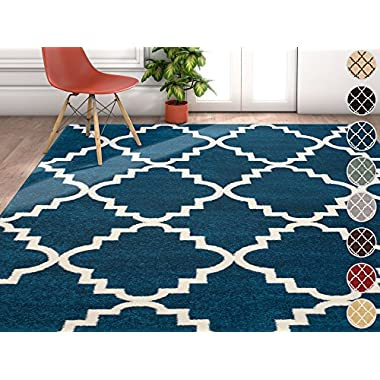 Harbor Trellis Dark Blue Quatrefoil Geometric Modern Casual Area Rug 5x7 ( 5'3  x 7'3  ) Easy to Clean Stain Fade Resistant Shed Free Contemporary Traditional Moroccan Lattice Living Dining Room Rug