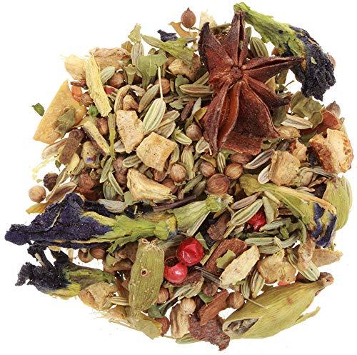 AURESA Kräutertee Chai Farbzauber | Blauer Tee mit indischen Chai-Gewürzen, ohne Koffein und ganz besonderen Blüten