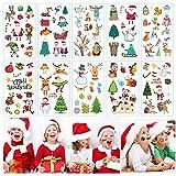 FZCRRDU KOCCAE 10 Sheets Christmas Temporary Tattoos for Kids Party Decorations, Xmas Tree+Lights, Santa, Reindeer, Snowman, Socks, Elk, Gift, More -Advent Calendars Stocking or Stuffer