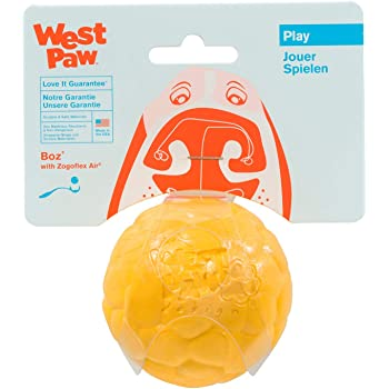 West Paw Zogoflex Air Boz Dog Toy – Floatable Pet Ball for Dogs, Fetch, Play, Chewing – Non-Toxic, Recyclable, Latex-Free Canine Toys – Durable Exterior Texture, Bouncy Squishy Ball, Made in USA