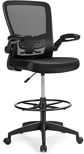 2021 Giantex outlet online sale Drafting Chair High Back Office Chairs with Footrest Ring Flip-Up Armrest Height Adjustable Executive Desk Chair Ergonomic Mesh Computer Task Chair Lumbar Support wholesale Tall Office Chair (1) online sale