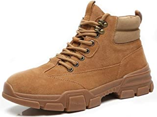 SHENYUAN Men's Motocycle Combat Boots High Top Work Shoes Lace up Genuine Leather Matte Solid Colour Anti Slip Round Toe Hiking Work or Casual Wear (Color : Sand, Size : 40 EU)