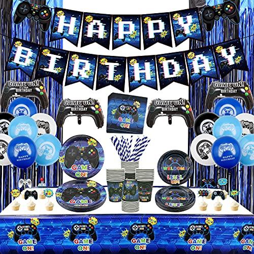 Suministros para fiestas de videojuegos – Kit de decoración de cumpleaños para niños, incluye pancartas de feliz cumpleaños, platos, tazas, manteles, decoración de cumpleaños para niños – sirve 20 (B)