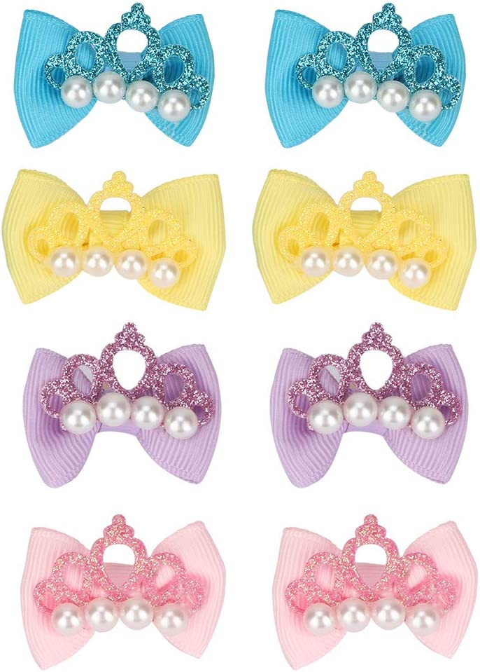 Soapow 20pcs Dog Pet Puppy El Paso Mall Crown Grooming Hair Rubber Bows Bands Regular dealer
