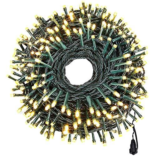 Weihnachtsbaum-Lichterkette, 35 m, 500 LEDs, Weihnachtsbeleuchtung, Außen- und Innenbereich, grünes Kabel, Kaltweiß, Weihnachtsbeleuchtung für Außen- und Innenbereich (warmweiß)