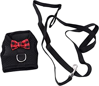 LALANG Cute Bows Hamster Rabbit Small Animals Pet Chest Back Harness with Leads Set Guinea Pig Leash Soft Mesh Walk-Vest