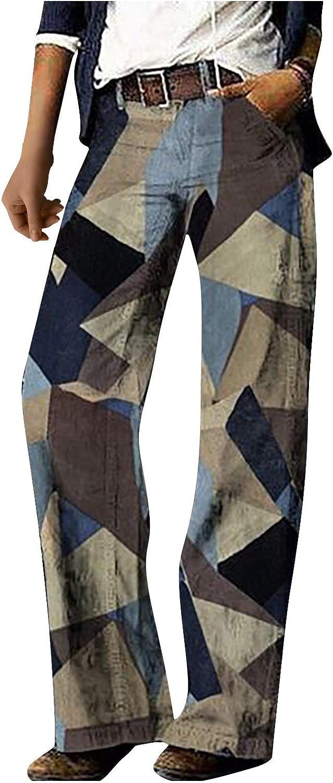 Pants for Women Casual, Casual Floral Dark Mid-Waist Street Denim Straight-Legged Pants R EAL Jeans