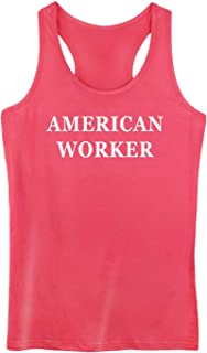 GROWYI Funny Workout Tank Tops Racerback for Women with Saying American Worker Political Fitness Gym Sleeveless Shirt