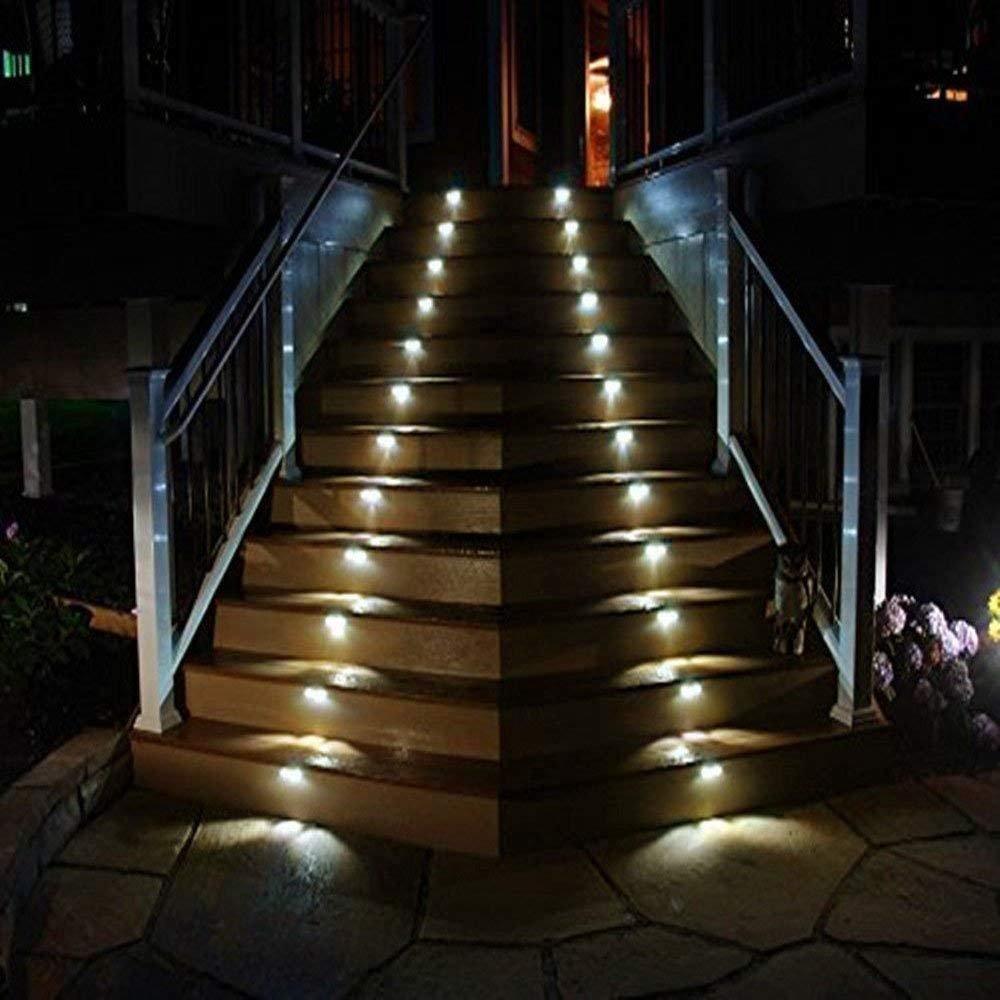 Luces Solares de Jardin,Luz Solar de escaleras,Foco Solar de Valla Jardin,Lamparas 3 LED Solares,Farolas Exteriores de Led (4X blanco frío): Amazon.es: Iluminación