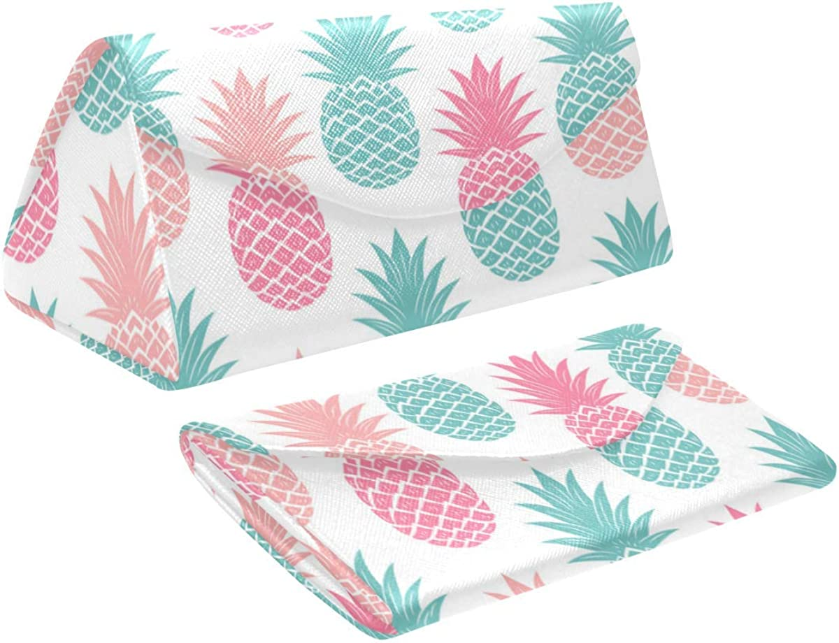 Glasses Case Multicolor Pineapple Eyeglass Case Leather Magnetic Folding Hard Case Sunglasses Eyewear Protective Case