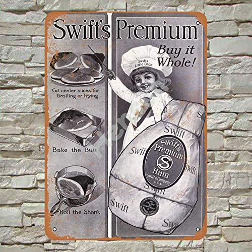 Henson 1916 Swift's Premium Hele Ham 2 Traditionele Vintage Tin Teken Logo 12 * 8 Reclame Opvallende Wanddecoratie