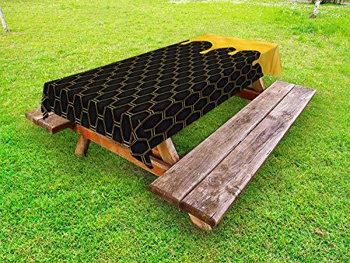 ABAKUHAUS Honing Tafelkleed voor Buitengebruik, Honeycomb Dripping Beehive, Decoratief Wasbaar Tafelkleed voor Picknicktafel, 58 x 84 cm, geel Grijs